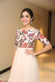 Ritu Varma smiling face Cream Anarkali dress at launch of OPPO New Selfie Camera F3 ~  Exclusive 090.JPG