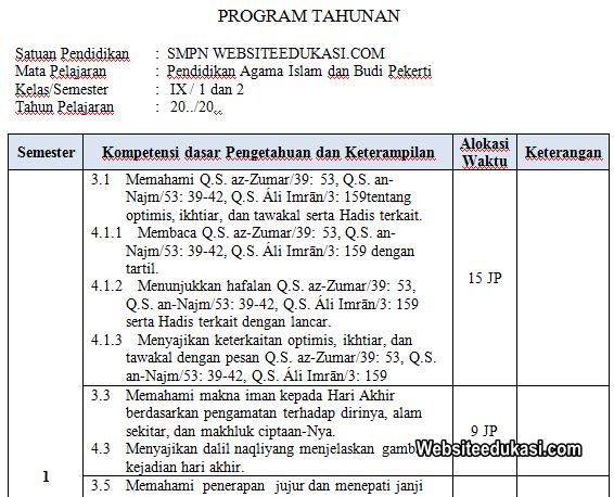 Program Tahunan Pai Kelas 7 Smt 2