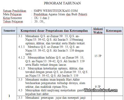 Prota PAI dan BP Kelas 9 Kurikulum 2013 Revisi 2019