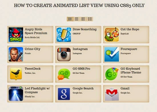 How To Create Animated List View Using CSS3 Only