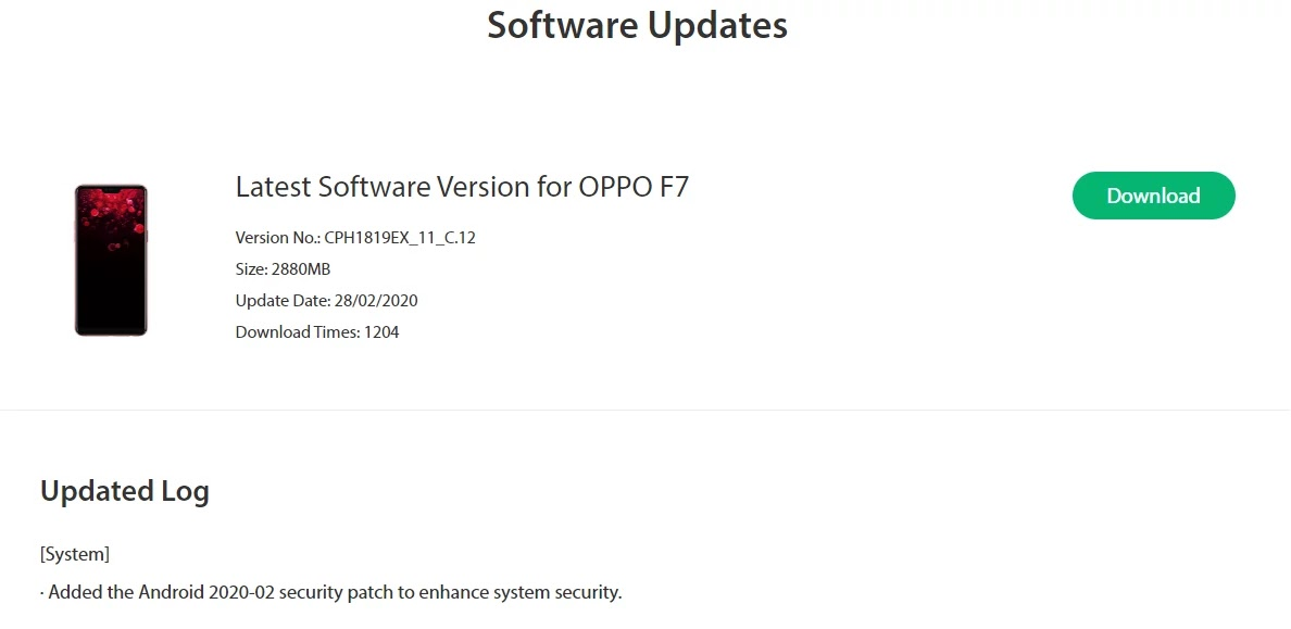 Oppo F7 February Security Patch Update Rolling Out [CPH1819EX_11_C.12] - Realme Updates