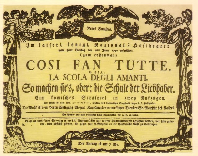 Playbill of the first performance of Cosi fan Tutte at the Burgtheater, Vienna, 26 January 1790