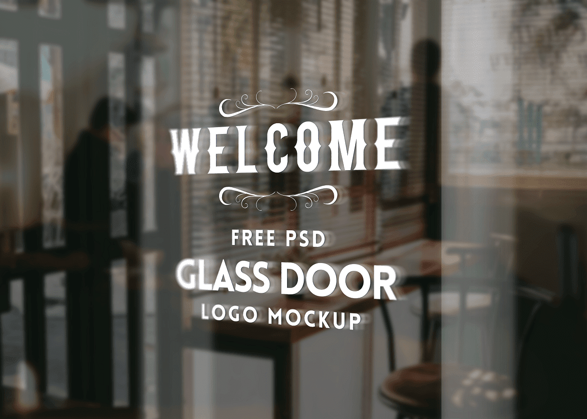 Download 3D Logo Mockup PSD - Glass Door Logo Mockup