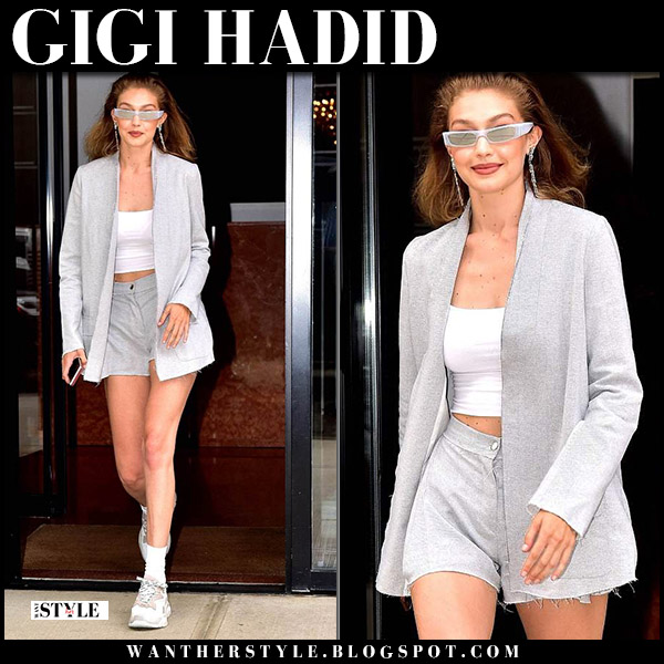 Gigi Hadid in grey blazer, white crop top and grey shorts model summer sartorial style june 20