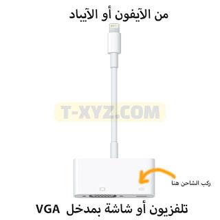 طريقة عرض شاشة آيفون - آيباد على التلفزيون أو شاشة الكمبيوتر VGA