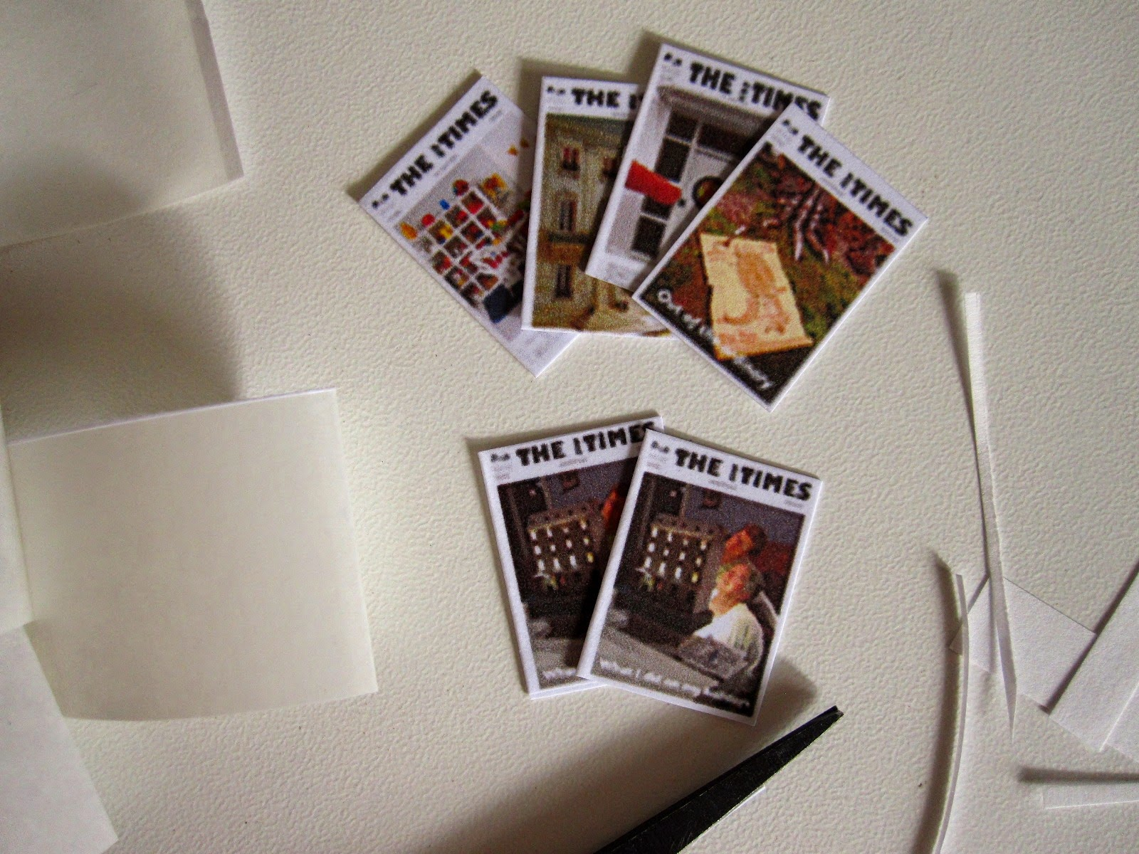 Dolls' house miniature versions of The tiny Times magazine.
