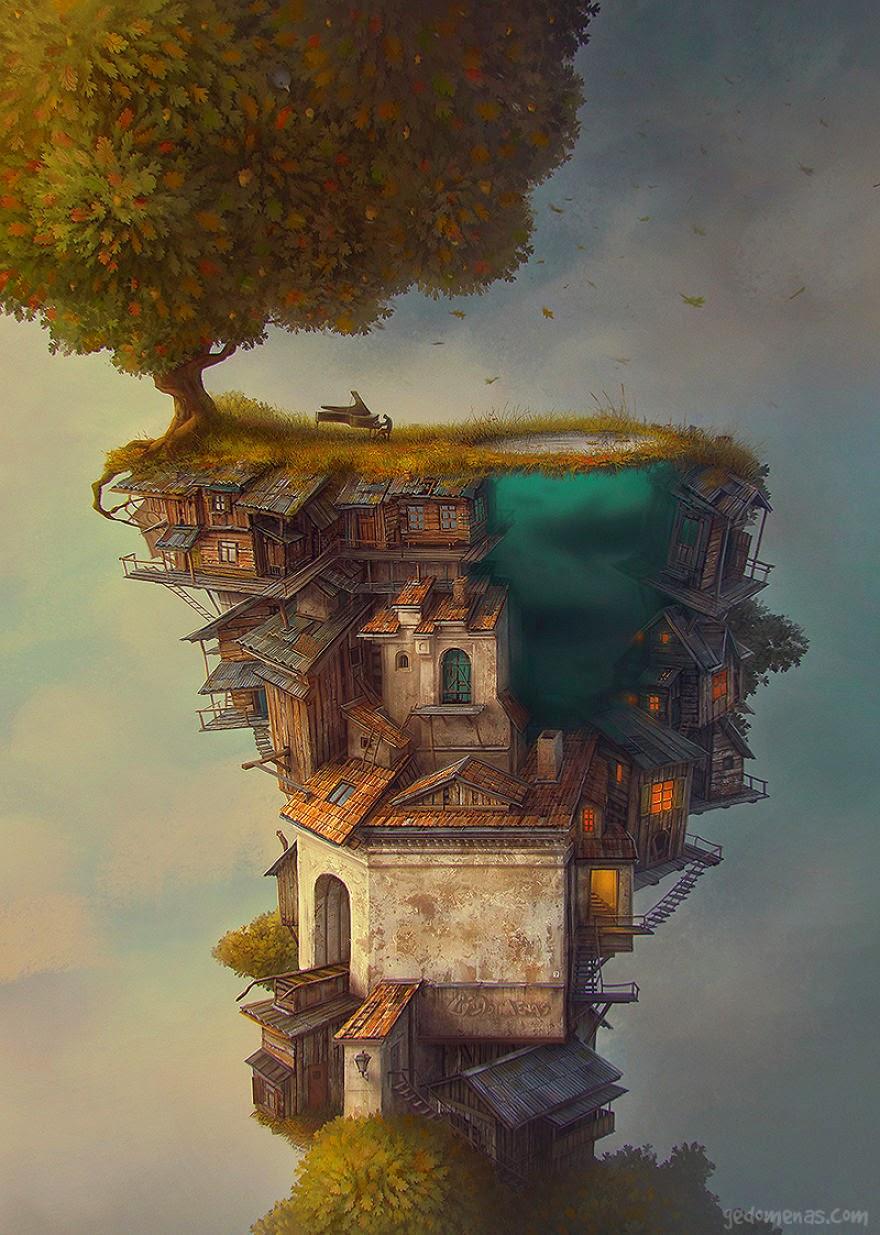 Ilustración casa y árbol