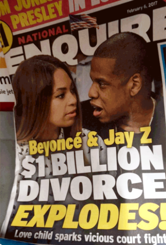 BS! According to National Enquirer, pregnant Beyonce is filing to divorce Jay Z because he has a 'love child'