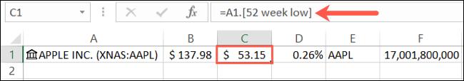 تفاصيل بيانات الأسهم في شريط الصيغة