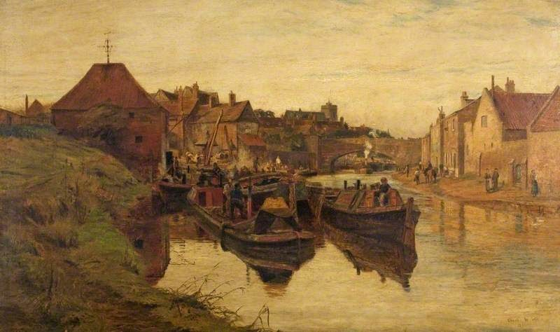 Charles William Wyllie Boating Scene on the Regents Canal with Narrow Boats and a Lighter