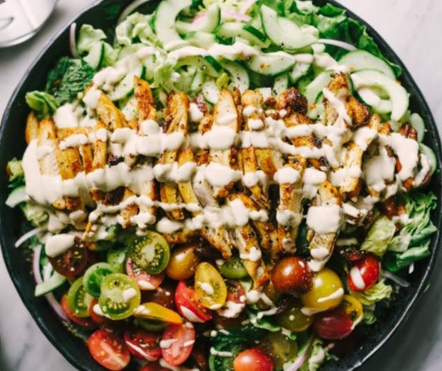 Chicken Shawarma Salad With Delicious Tahini Sauce