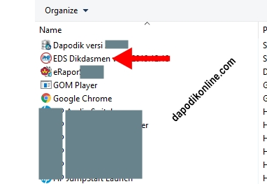 Doble klik pada aplikasi EDS Dikdasmen