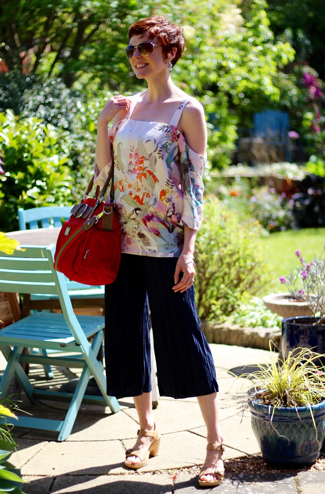 Crinkle Pleated Culottes, Next Floral Cold Shoulder satin top, Clarks Sandals. Over 40 | Fake Fabulous