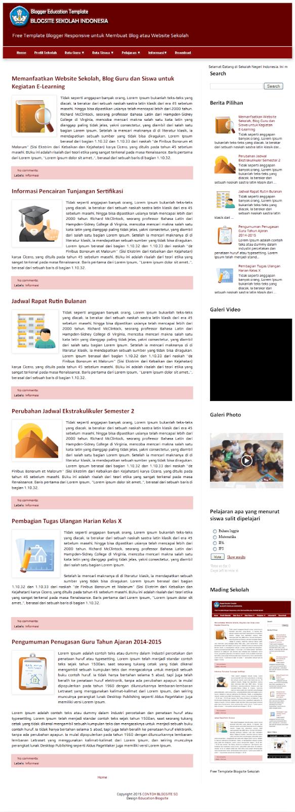 Template Blogsite Sekolah SD
