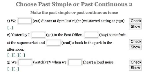 Actividad online para completar con la forma correcta del past simple y past continuous
