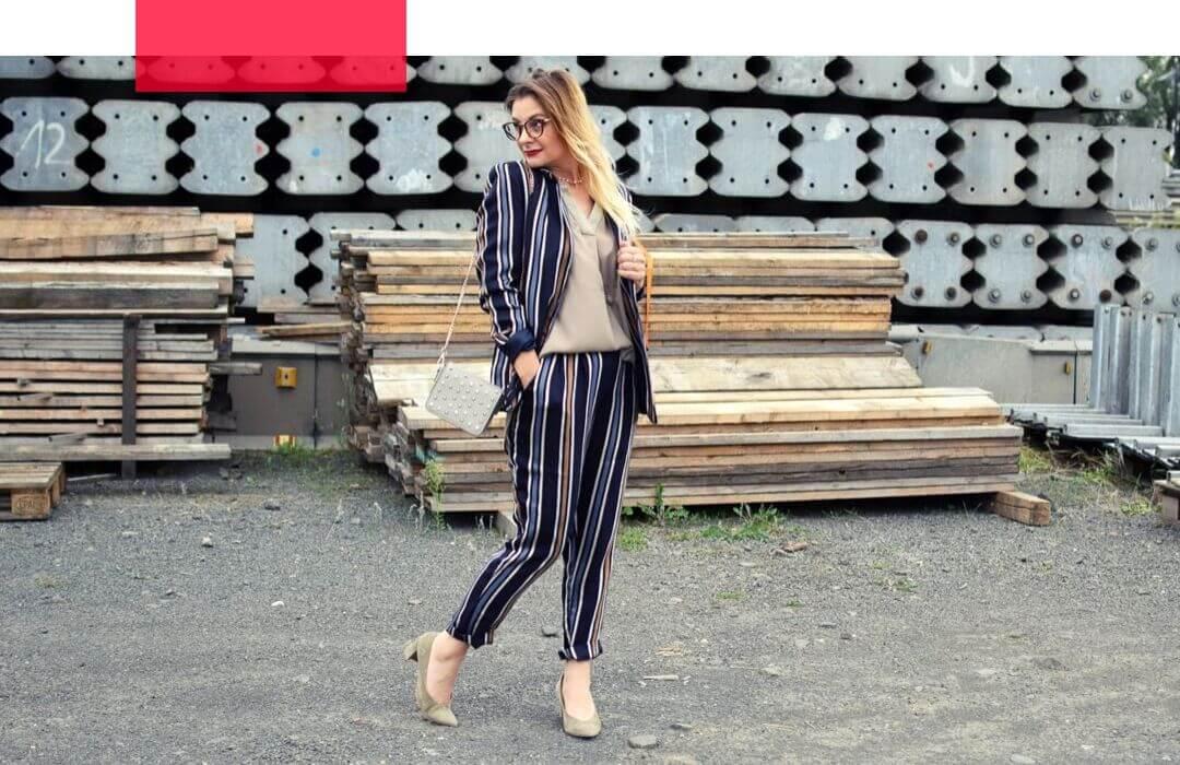 Hosenanzug-Damen-Streifen