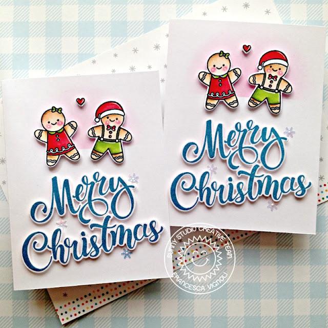 Sunny Studio Stamps: Christmas Cookies Season's Greetings Santa Claus Lane North Pole Christmas Cards by Franci Vignoli