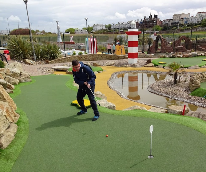 Richard Gottfried playing the Championship Adventure Golf course in New Brighton, England on National Miniature Golf Day 2017