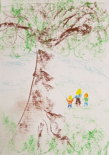 fabulous artwork of a large blonde person and two smaller ginger people  walking across a field with a tree Chalk pastels