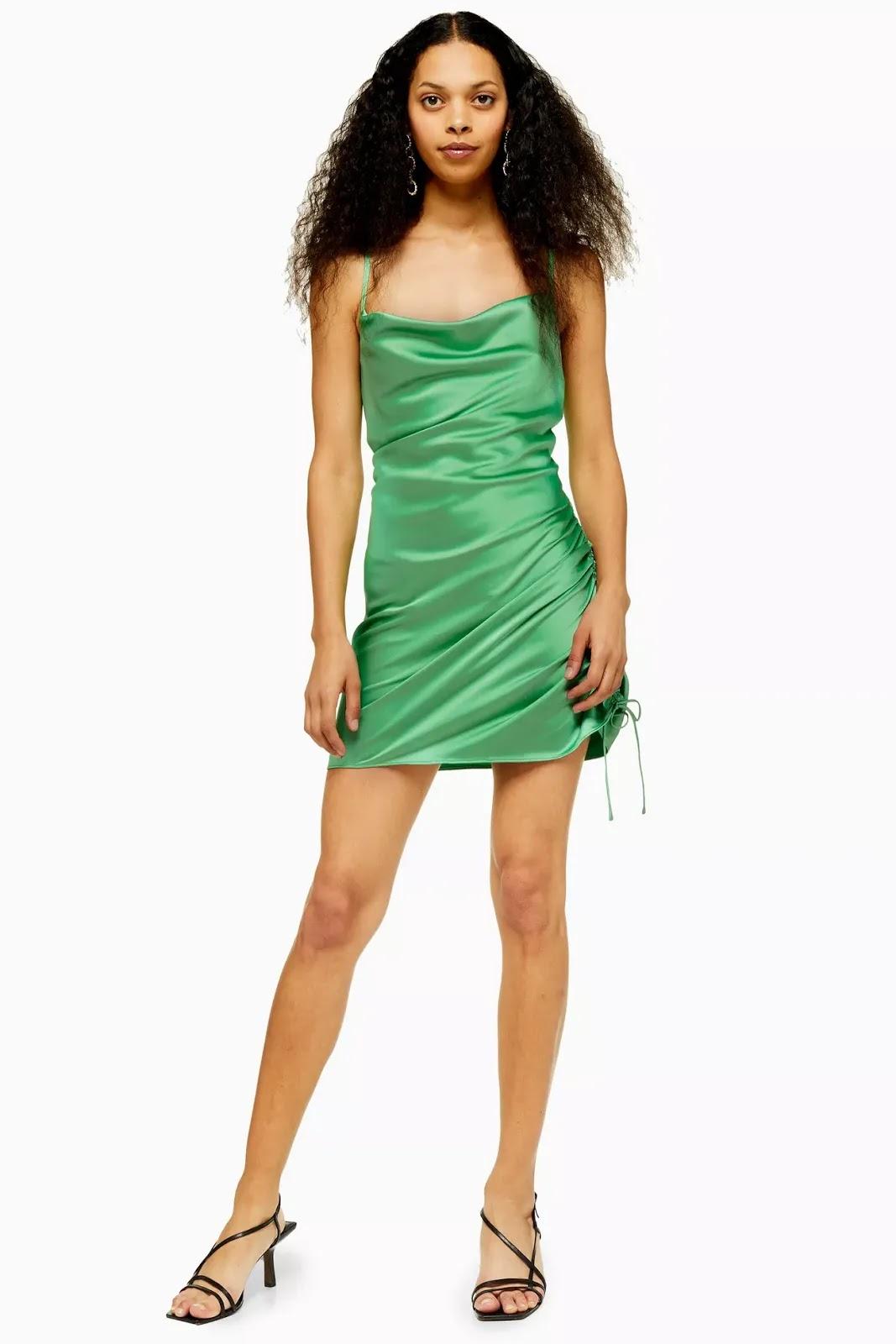 PETITE Green Ruch Side Dress