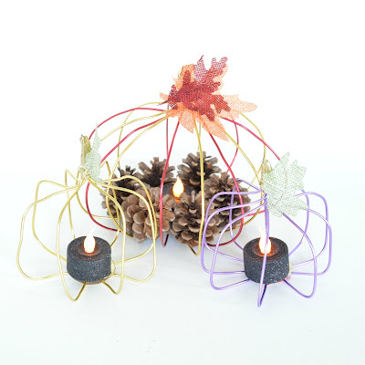 fall decor using wire pumpkins candle holder