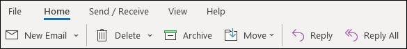 الشريط المبسط في تطبيق Outlook لسطح المكتب.