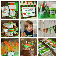 image of dinosaur invitation party stationery set green orange brown printable