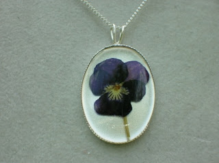 Sterling silver Violet flower pendant