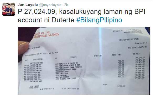 Mayor Rody Duterte shows to public his BPI bank statement
