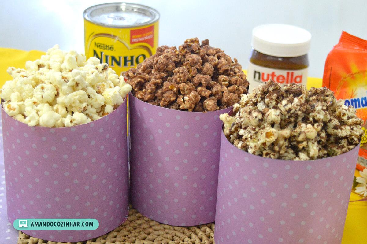 Famosos 3 Receitas de pipoca doce: Nutella, Leite Ninho e Ovomaltine  OZ82