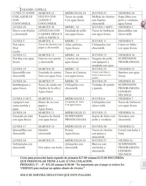 Colegio copilli tareas for Menu colegio base