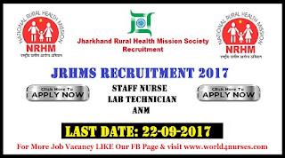 JRHMS Recruitment 2017Staff Nurse, Lab Technician, ANM, Counsellors Posts Last Date 22nd September 2017