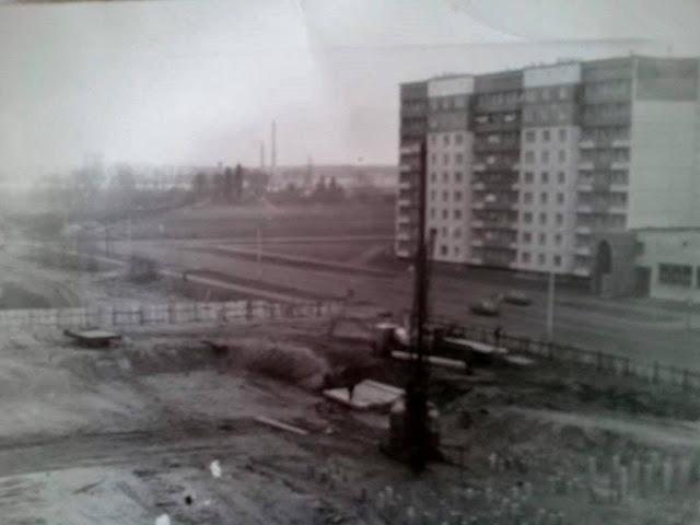 1980-е годы. Плявниеки. Улица Улброкас. Строительство почты