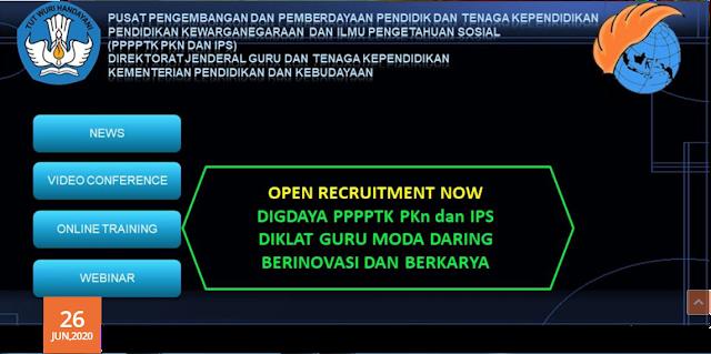 DIGDAYA ini adalah adalah persembahan bagi para Guru SD dan Mata Pelajaran PKn dan IPS Seluruh Indonesia yang menjadi binaan PPPPTK PKn dan IPS. PPPPTK PKn dan IPS tetap berkomitmen dan berupaya untuk tetap meningkatkan Kompetensi para Guru agar Profesionalisme dan Ketrampilan Pedagogi guru-guru yang menjadi binaan PPPPTK PKn dan IPS tetap terjaga dan bisa memberikan Inspirasi, semangat baru dalam perbaikan proses belajar dan mengajar bagi guru di Kelas. PPPPTK PKn dan IPS mengajak para Guru di seluruh Indonesia dengan adanya COVID-19 justru kita bisa banyak belajar dan menemukan Solusi-Solusi dalam perbaikan proses Belajar dan mengajar. Berikut daftar DIGDAYA yang dibuka :   1) Diklat Guru Moda Daring Berinovasi dan Berkarya (DIGDAYA) bagi Guru Jenjang Sekolah Dasar dilaksanakan pada tanggal 9 - 21 Juli 2020.      Peserta Diklat Guru Moda Daring Berinovasi dan Berkarya (DIGDAYA) adalah Guru pada jenjang Sekolah Dasar dari Seluruh Indonesia.     Narasumber terdiri dari Pejabat Struktural, Widyaiswara (WI) Departemen Sekolah Dasar, dan Pengembang Teknologi Pembelajaran (PTP).       Peserta Memiliki NUPTK dan Nomor UKG (Wajib Semua).     Memiliki Gawai (Komputer/laptop/Smartphone) serta Jaringan Internet Internet Aktif Selama Mengikuti Kegiatan.       Sanggup mengikuti rangkaian kegiatan Diklat Daring yang diselenggarakan oleh PPPPTK PKn dan IPS sampai selesai.       Peserta Diklat Guru Moda Daring Berinovasi dan Berkarya (DIGDAYA) adalah Guru pada jenjang Sekolah Dasar dari Seluruh Indonesia Wajib Melakukan Pendaftaran Secara DARING / On-line dengan mengisi E-Formulir DISINI.     Pendaftaran Peserta Diklat Daring tidak dipungut biaya (Gratis).     Pendaftaran Peserta Diklat Guru Moda Daring Berinovasi dan Berkarya (DIGDAYA) bagi Guru SD dapat dilihat pada laman resmi PPPPTK PKn dan IPS.     Pendaftaran dibuka mulai tanggal 26 Juni 2020 dan ditutup pada 2 Juli 2020 Pkl. 15.00 WIB.      Pengumuman Peserta yang Lolos Seleksi dan berhak mengikuti Diklat DARING / On-Line 