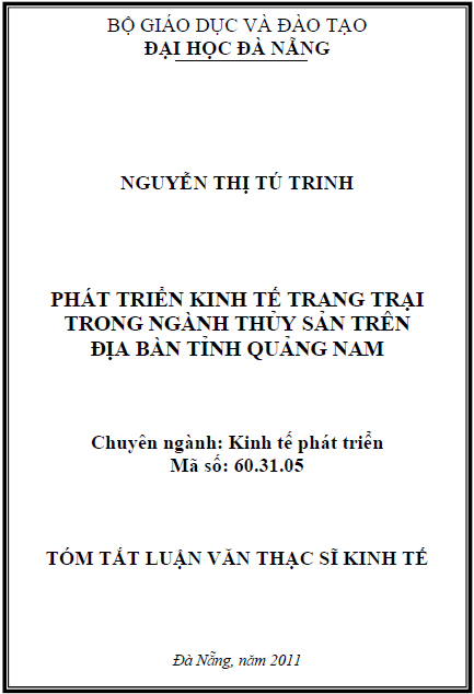 Phát triển kinh tế trang trại trong ngành thủy sản trên địa bàn tỉnh Quảng Nam