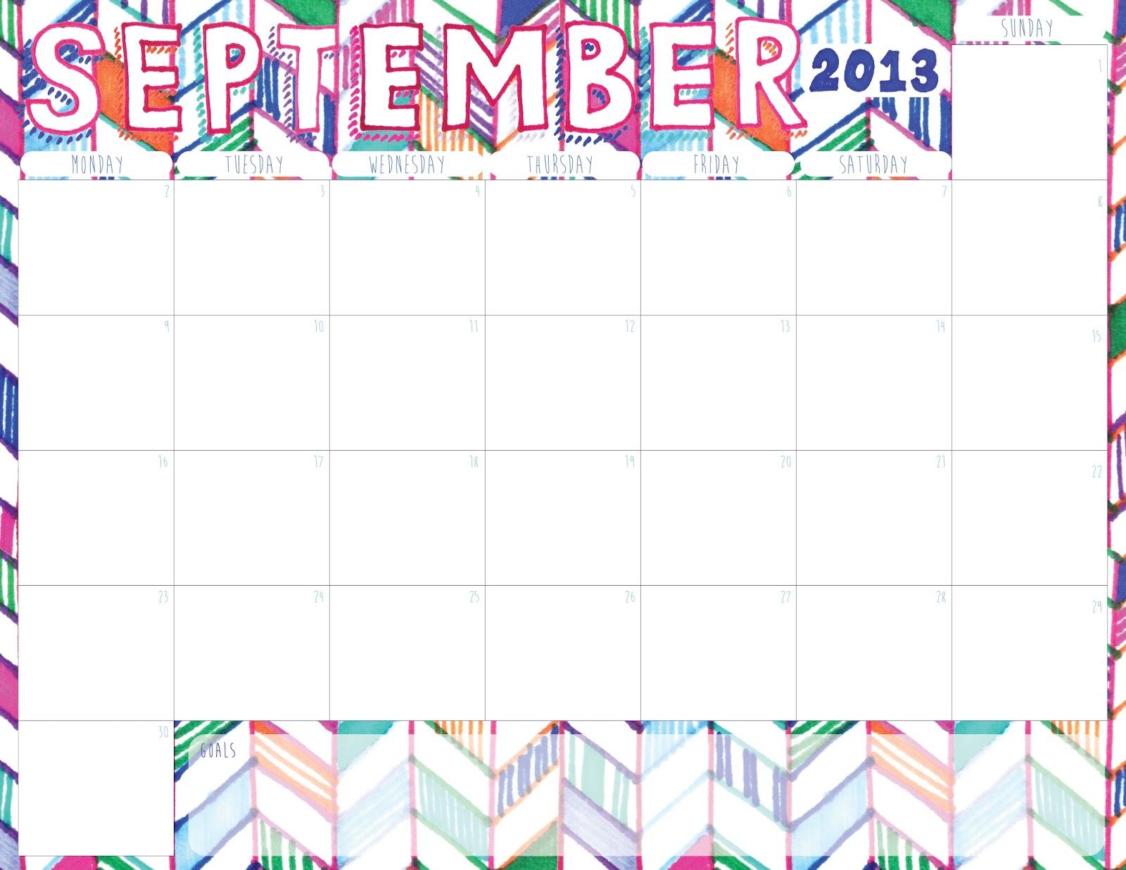 September 2013: Download: September 2013 Printable Calendar + Mixtape