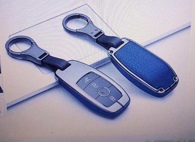 ontto - Funda para llave de coche inteligente (metal, piel, protección de 360 grados), color azul