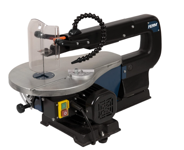 Ferm SSM1005 Scroll Saw-Fret Saw-90W - Adjustable Working Table with Dust Blowing System for Wood, Plastics and Non-Ferrous Metal (Blue, 0-45 Degrees)
