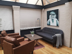 Comfortable seating area with engineered wood flooring