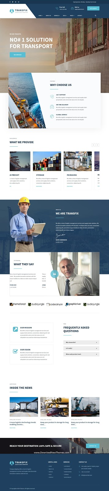 Transport, Logistics & Warehouse Drupal Theme With Page Builder