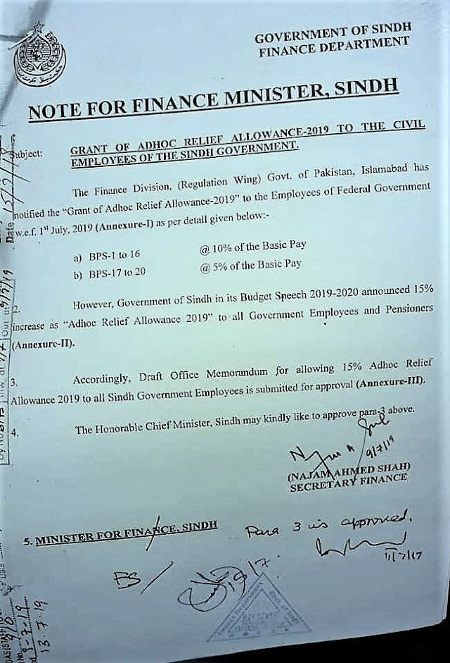GRANT OF ADHOC RELIEF ALLOWANCE-2019 TO THE EMPLOYEES OF SINDH GOVERNMENT