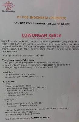 Lowongan PT Pos Indonesia (Surabaya Selatan)