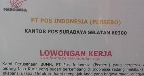 Lowongan Pt Pos Indonesia Terbaru 2017 Surabaya Selatan