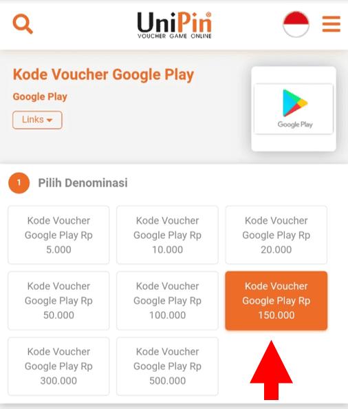 Pilih Nominal Voucher Google Play