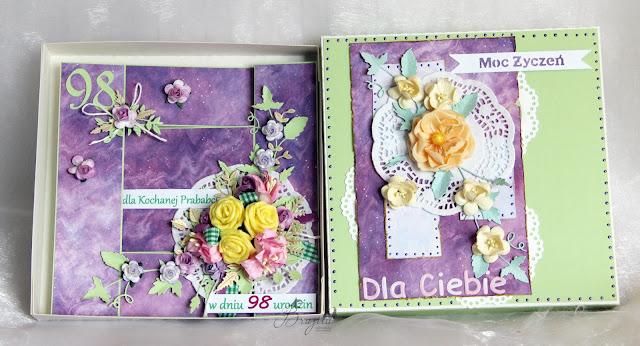 kartka składak, urodziny, wyjątkowy prezent dla babci, kartka w pudełku, urodzinowy komplet, dla niej, AltairArt , inspiracje Made of Stars