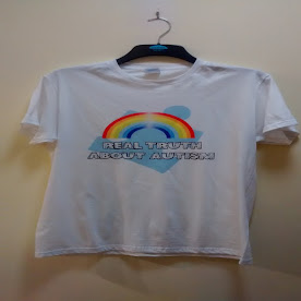WOW, Rainbow 'Real Truth About Autism' T shirts Create By Ashley Davis Young Man