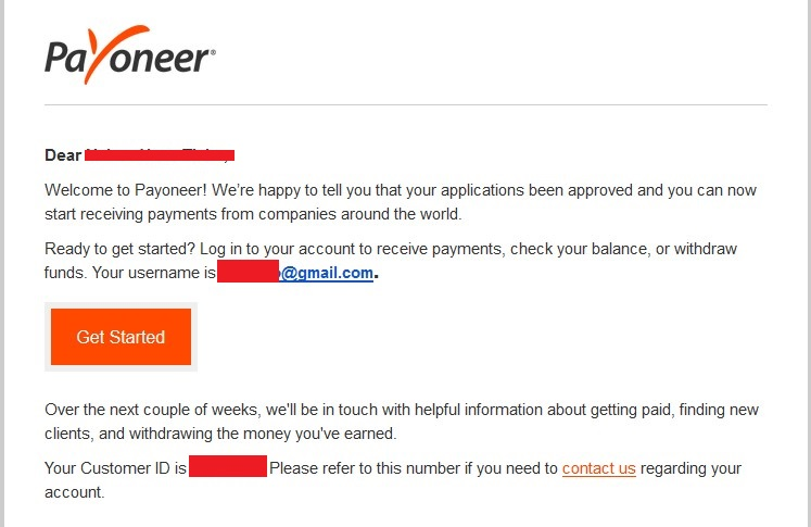 account  approved by Payoneer