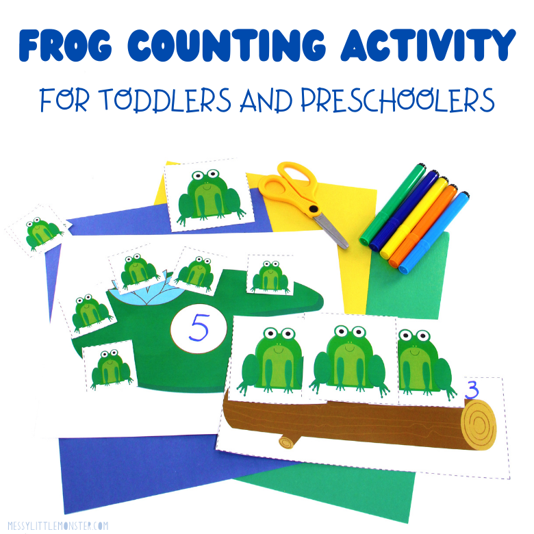 Frog counting activity for toddlers and preschoolers