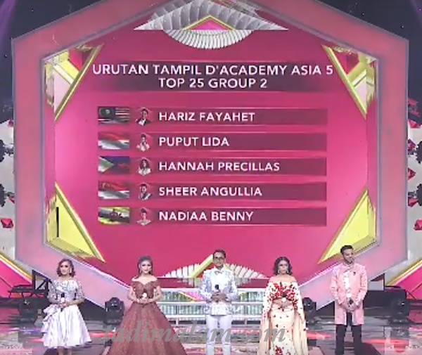 Urutan tampil D'Academy Asia 5 Top 25 Group 2