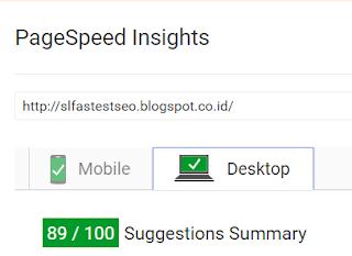 Kecepatan loading template SL Fastest SEO dari Desktop